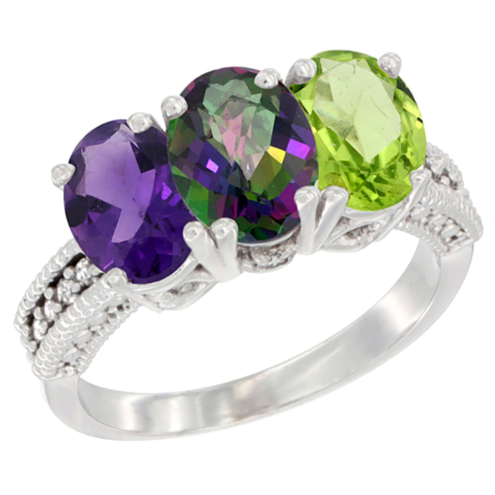 10K White Gold Natural Amethyst, Mystic Topaz & Peridot Ring 3-Stone Oval 7x5 mm Diamond Accent, sizes 5 - 10