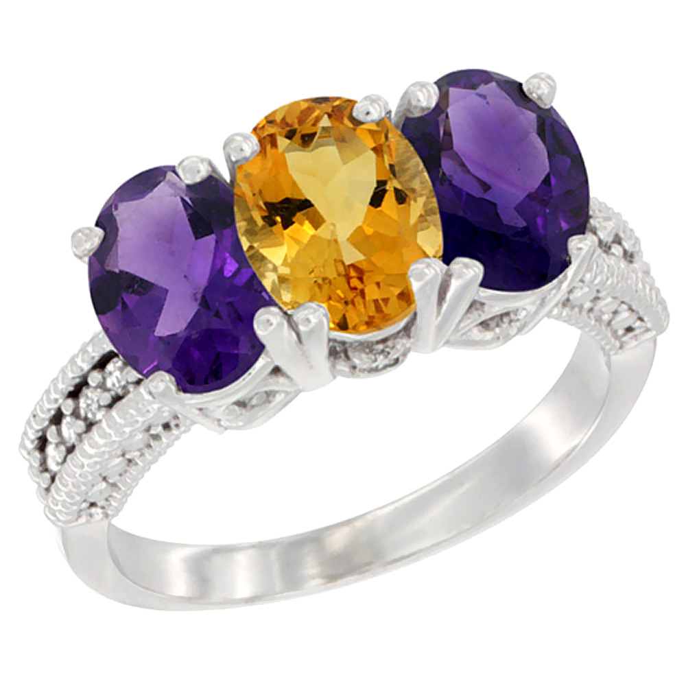 14K White Gold Natural Citrine & Amethyst Ring 3-Stone 7x5 mm Oval Diamond Accent, sizes 5 - 10