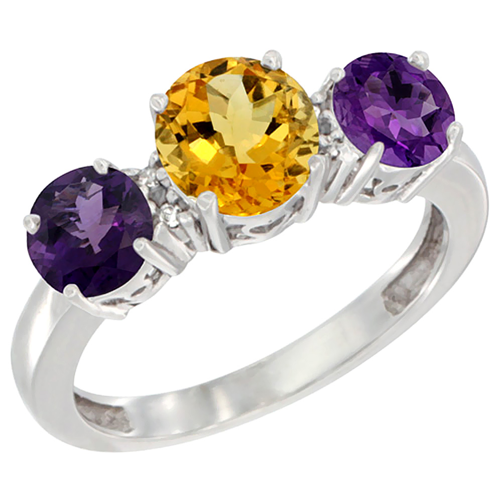 10K White Gold Round 3-Stone Natural Citrine Ring & Amethyst Sides Diamond Accent, sizes 5 - 10