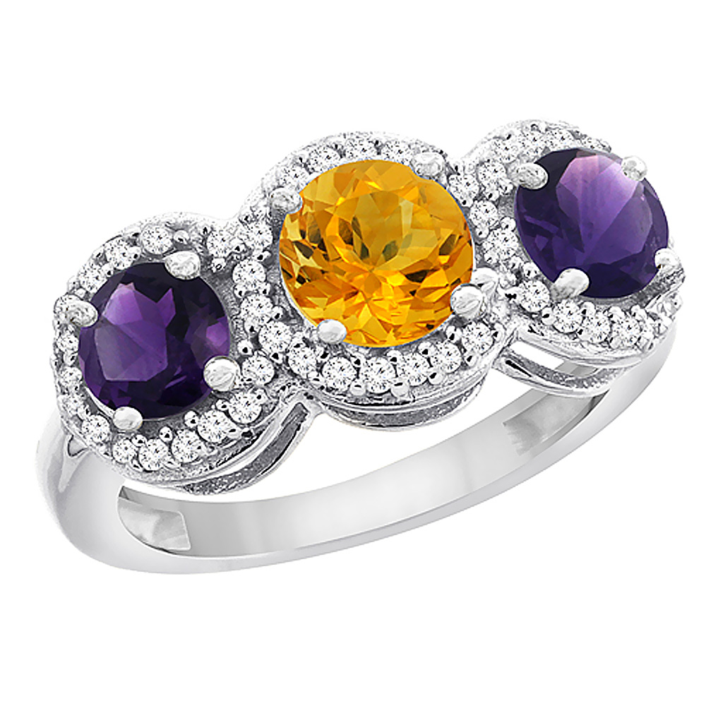 10K White Gold Natural Citrine & Amethyst Sides Round 3-stone Ring Diamond Accents, sizes 5 - 10