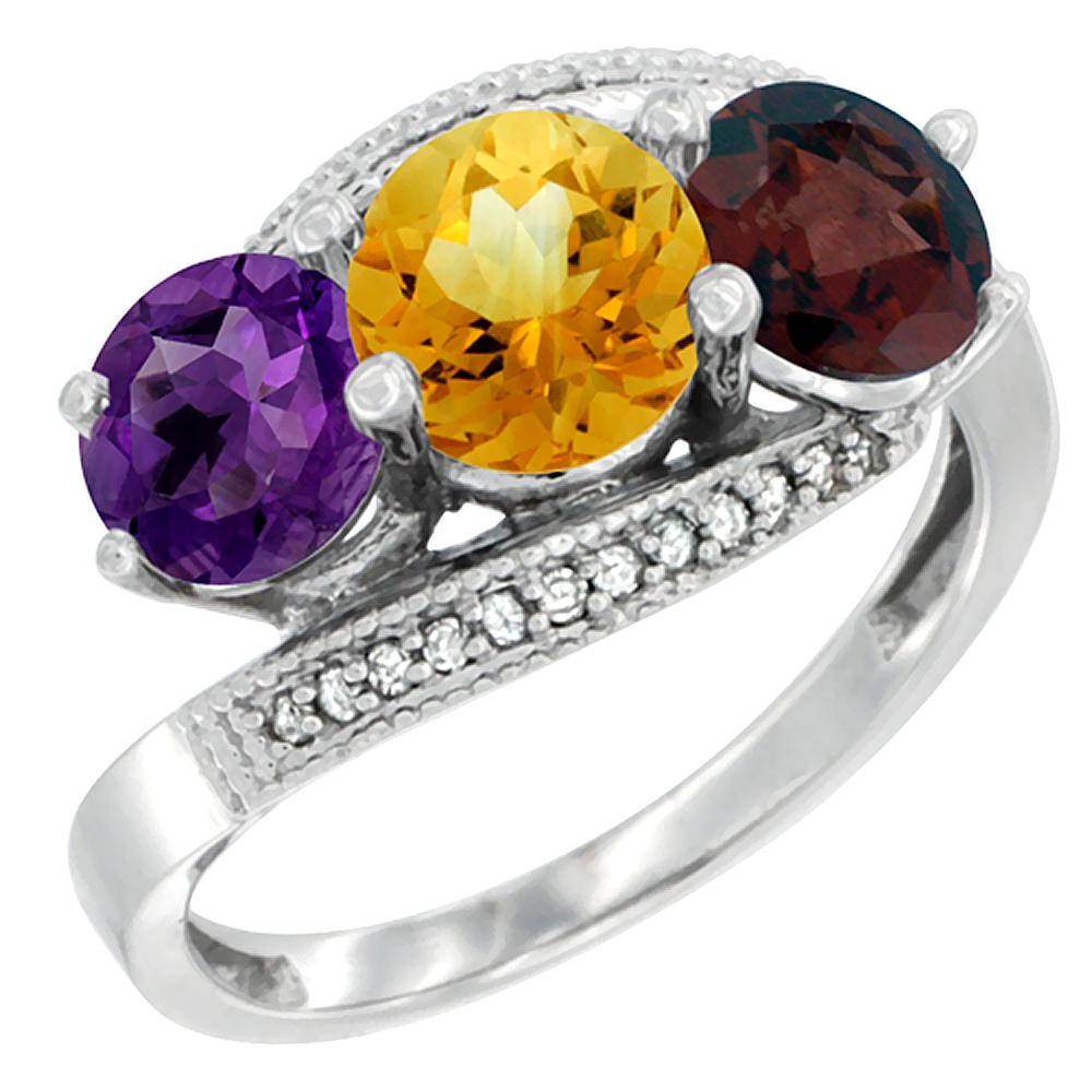 10K White Gold Natural Amethyst, Citrine & Garnet 3 stone Ring Round 6mm Diamond Accent, sizes 5 - 10