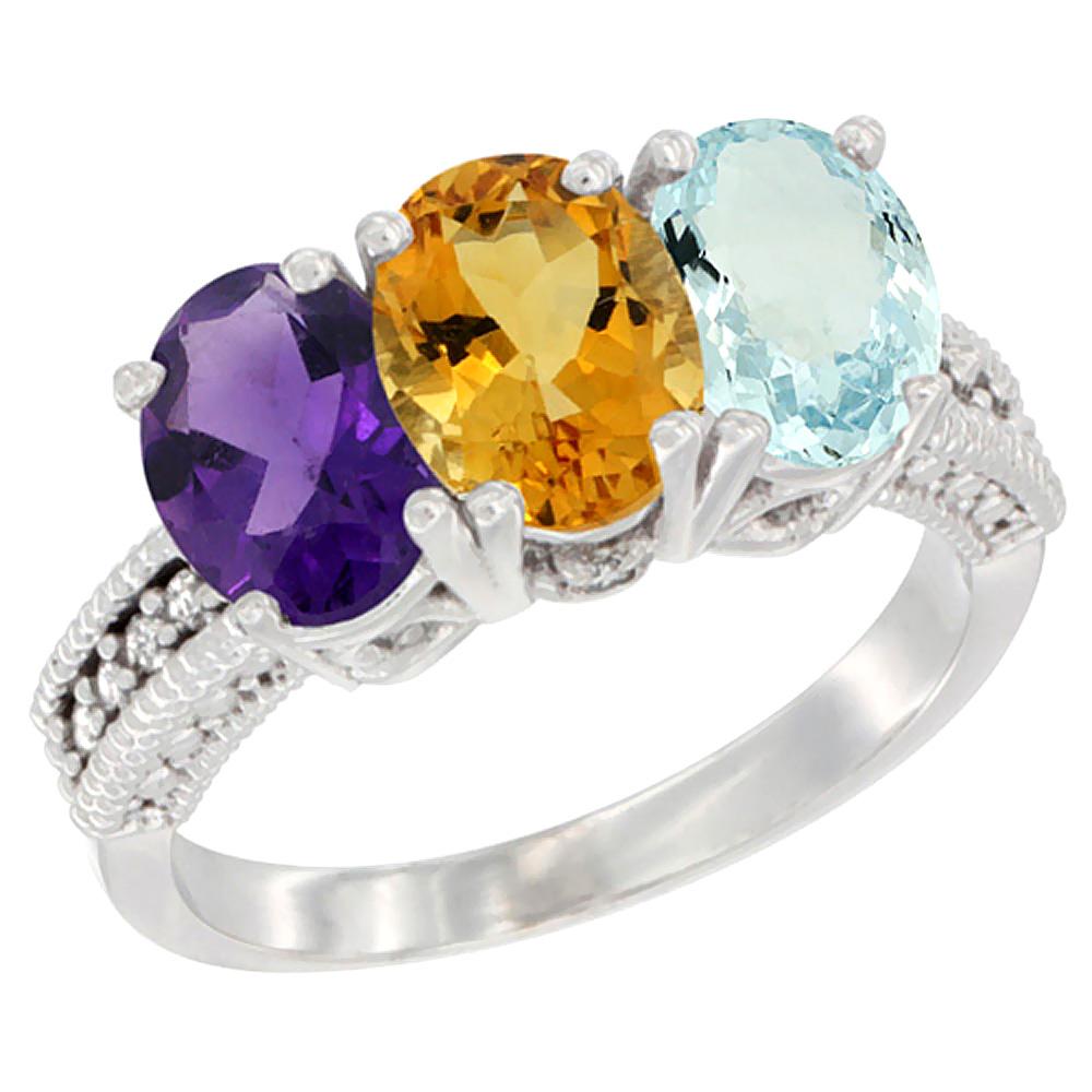 14K White Gold Natural Amethyst, Citrine & Aquamarine Ring 3-Stone 7x5 mm Oval Diamond Accent, sizes 5 - 10