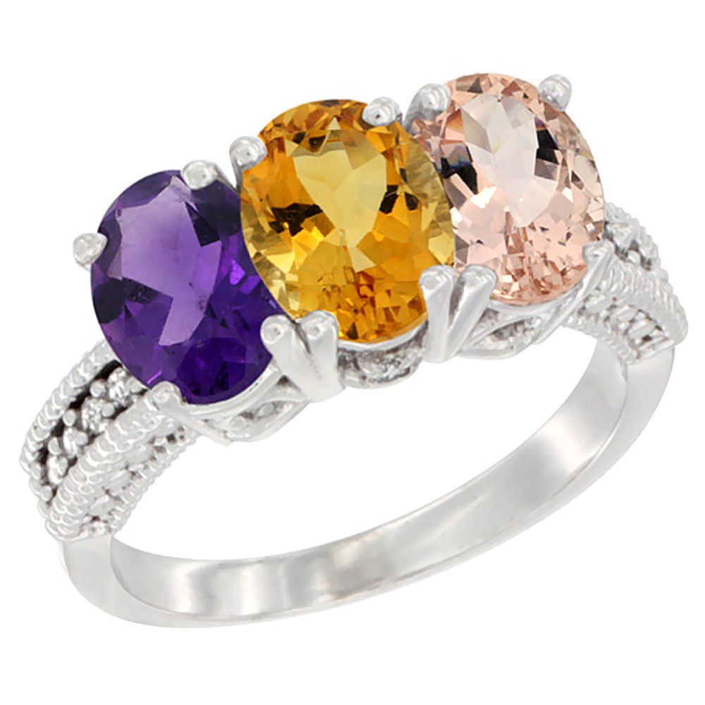 14K White Gold Natural Amethyst, Citrine & Morganite Ring 3-Stone 7x5 mm Oval Diamond Accent, sizes 5 - 10