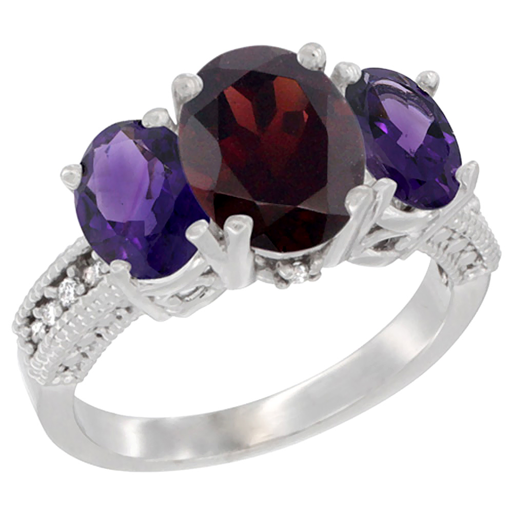 14K White Gold Diamond Natural Garnet Ring 3-Stone Oval 8x6mm with Amethyst, sizes5-10