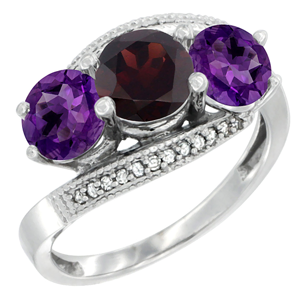 10K White Gold Natural Garnet & Amethyst Sides 3 stone Ring Round 6mm Diamond Accent, sizes 5 - 10
