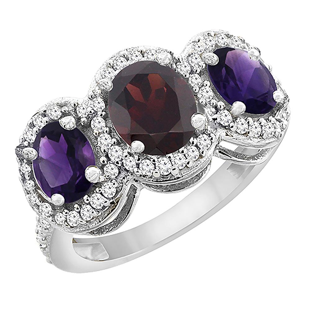 10K White Gold Natural Garnet & Amethyst 3-Stone Ring Oval Diamond Accent, sizes 5 - 10