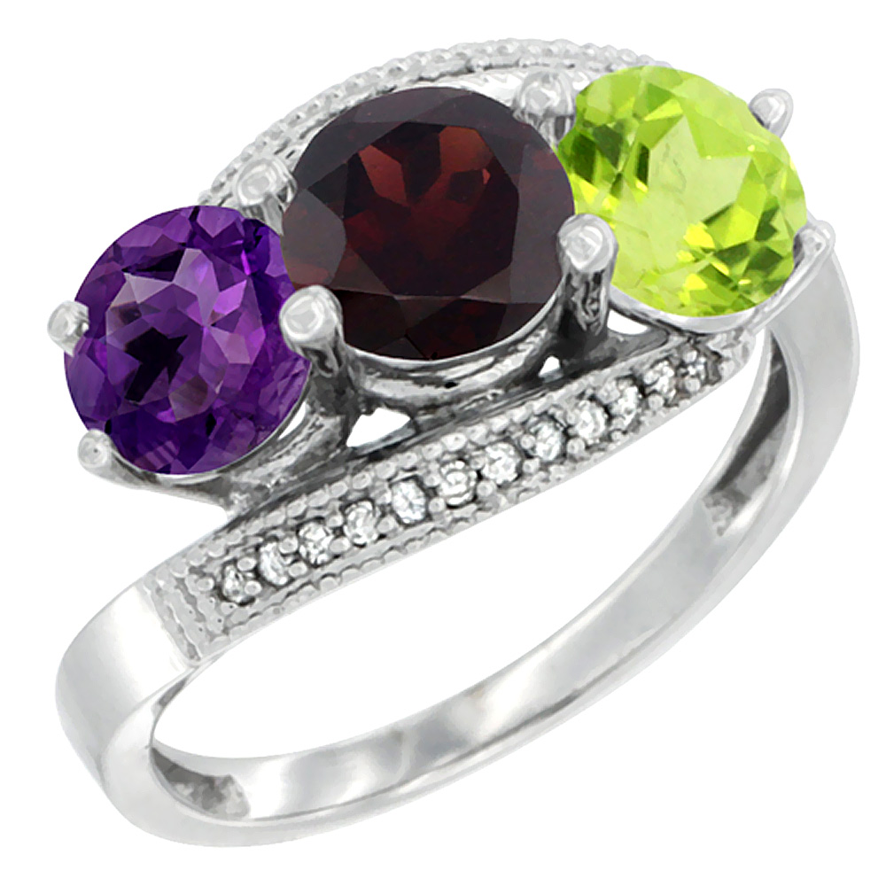 10K White Gold Natural Amethyst, Garnet & Peridot 3 stone Ring Round 6mm Diamond Accent, sizes 5 - 10