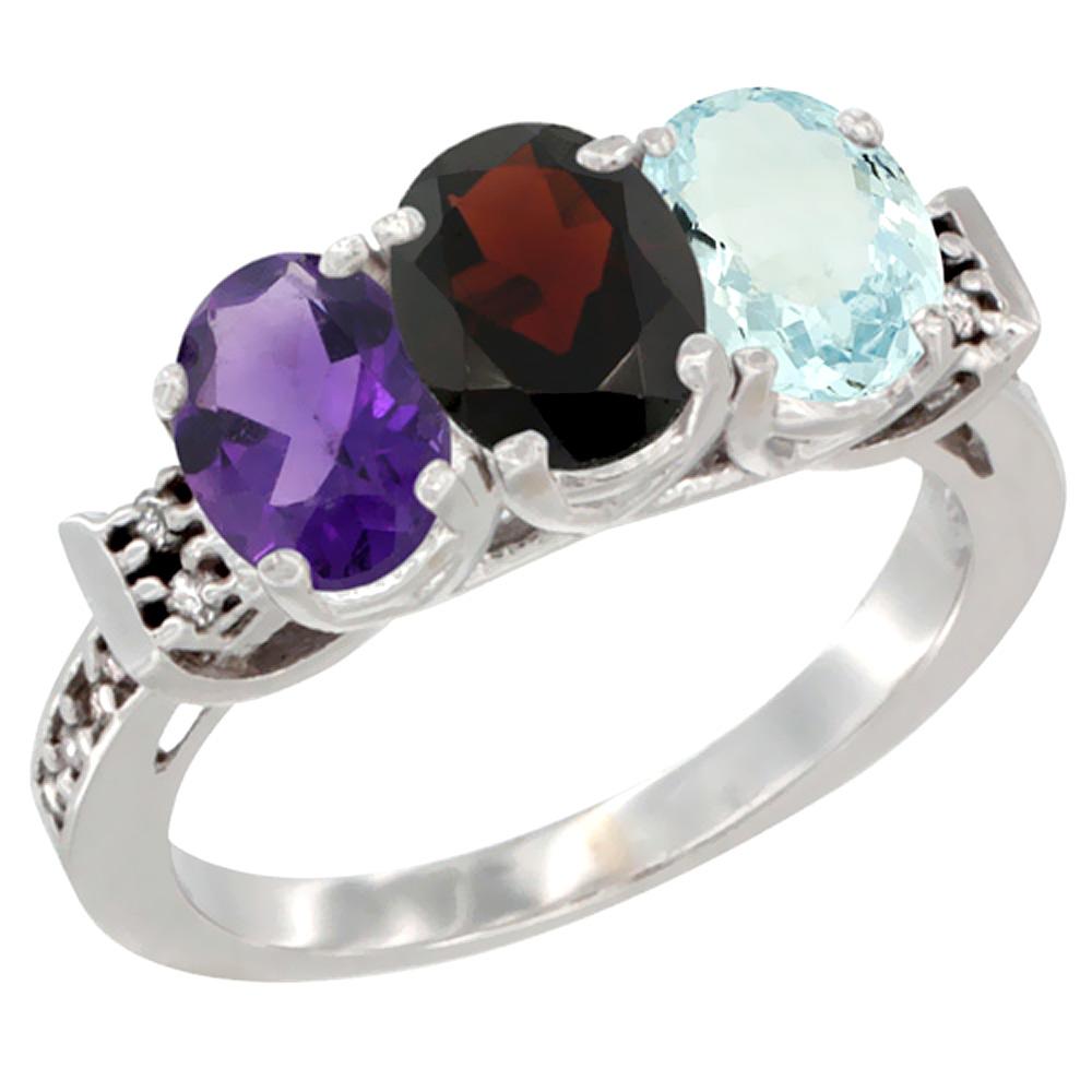 10K White Gold Natural Amethyst, Garnet & Aquamarine Ring 3-Stone Oval 7x5 mm Diamond Accent, sizes 5 - 10