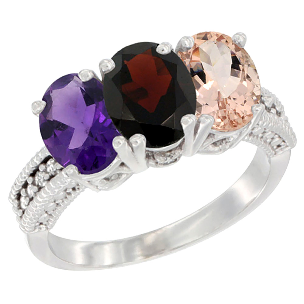 10K White Gold Natural Amethyst, Garnet & Morganite Ring 3-Stone Oval 7x5 mm Diamond Accent, sizes 5 - 10