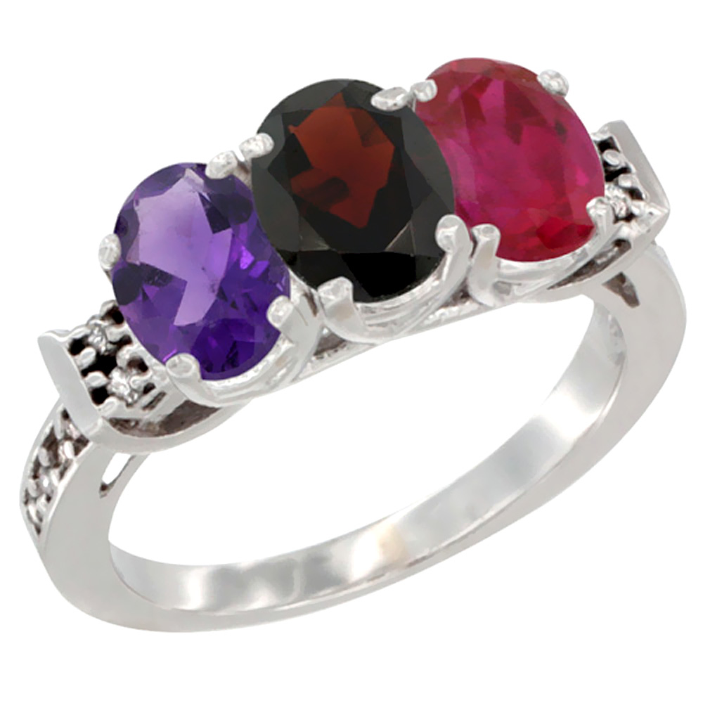 10K White Gold Natural Amethyst, Garnet & Enhanced Ruby Ring 3-Stone Oval 7x5 mm Diamond Accent, sizes 5 - 10