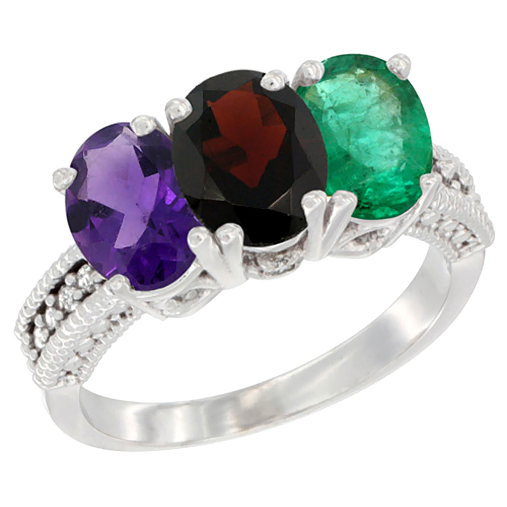 10K White Gold Natural Amethyst, Garnet & Emerald Ring 3-Stone Oval 7x5 mm Diamond Accent, sizes 5 - 10