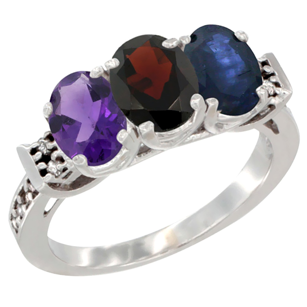 10K White Gold Natural Amethyst, Garnet & Blue Sapphire Ring 3-Stone Oval 7x5 mm Diamond Accent, sizes 5 - 10