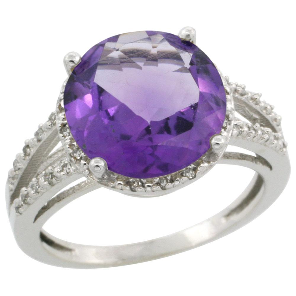 10K White Gold Diamond Genuine Amethyst Ring Round 11mm sizes 5-10