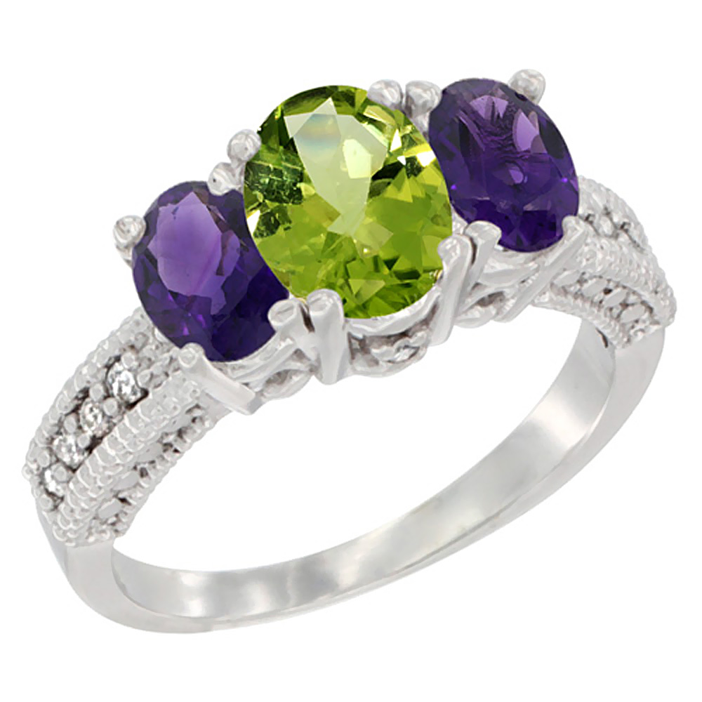 14K White Gold Diamond Natural Peridot Ring Oval 3-stone with Amethyst, sizes 5 - 10