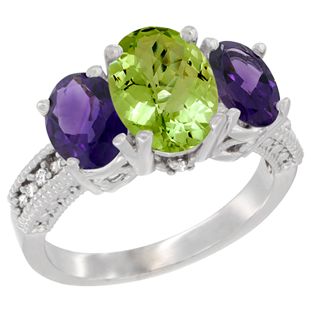 14K White Gold Diamond Natural Peridot Ring 3-Stone Oval 8x6mm with Amethyst, sizes5-10