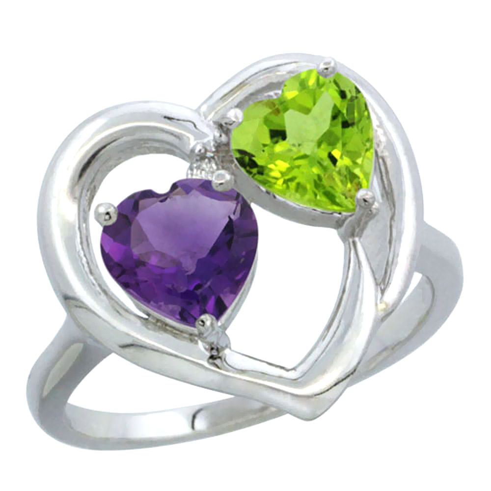 14K White Gold Diamond Two-stone Heart Ring 6mm Natural Amethyst & Peridot, sizes 5-10