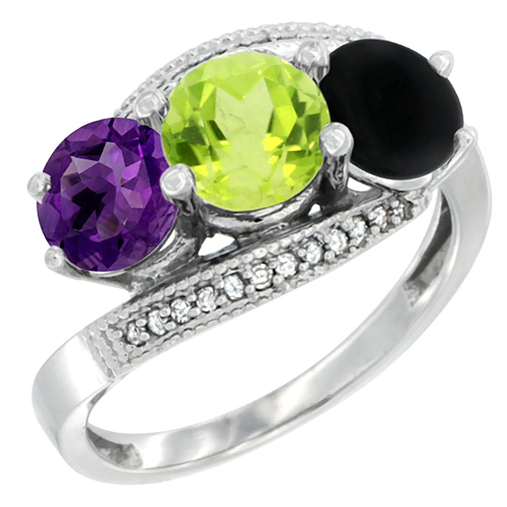 14K White Gold Natural Amethyst, Peridot & Black Onyx 3 stone Ring Round 6mm Diamond Accent, sizes 5 - 10