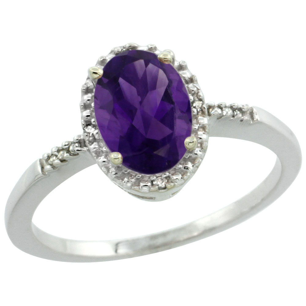 10K White Gold Diamond Genuine Amethyst Ring Oval 8x6mm sizes 5-10