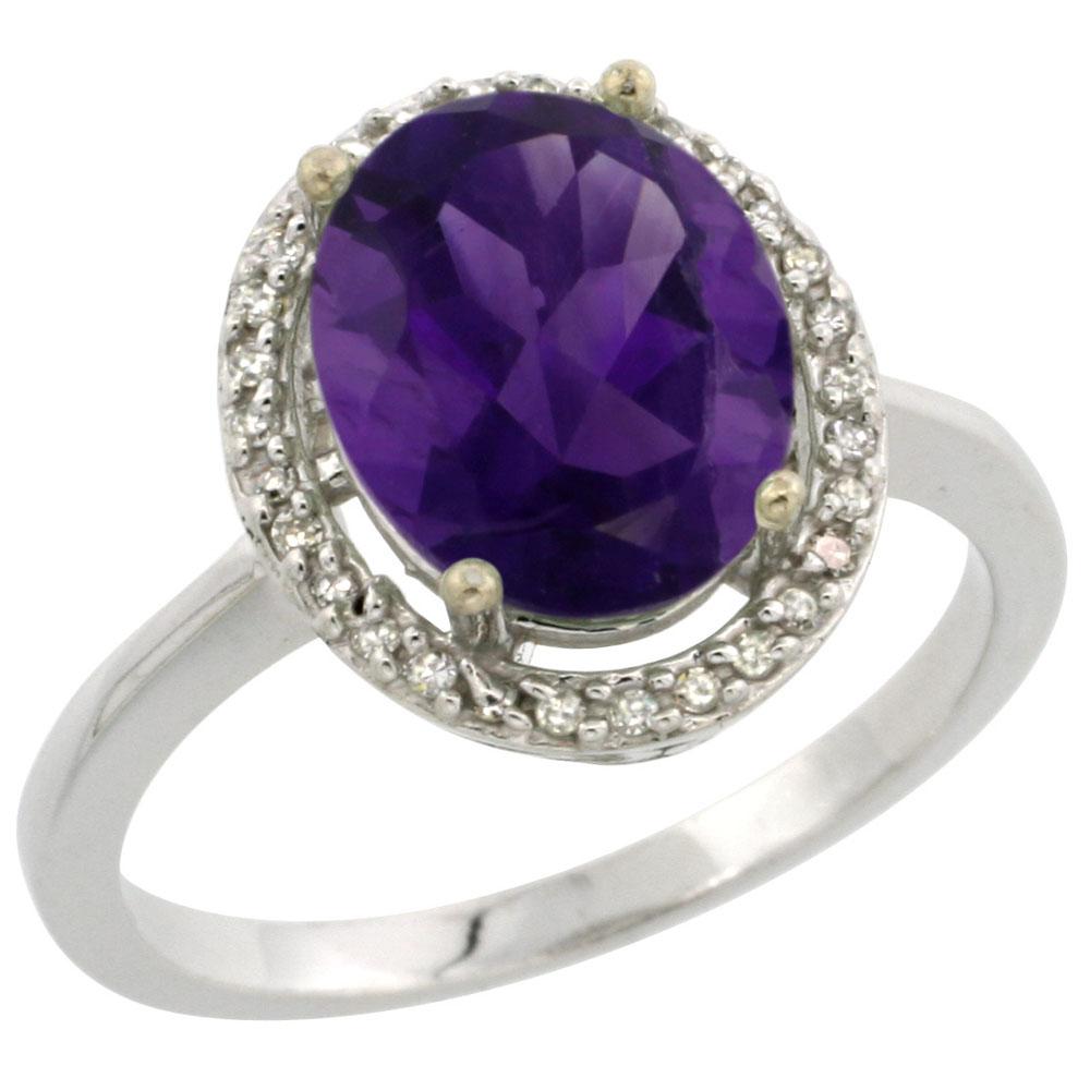 10K White Gold Diamond Genuine Amethyst Engagement Ring Oval 10x8mm sizes 5-10
