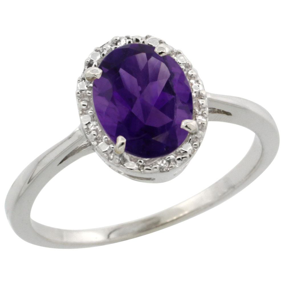 10k White Gold Diamond Halo Genuine Amethyst Ring Oval 8x6 mm sizes 5-10