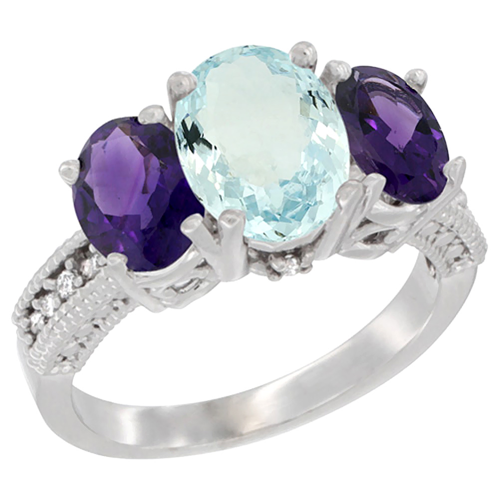 14K White Gold Diamond Natural Aquamarine Ring 3-Stone Oval 8x6mm with Amethyst, sizes5-10