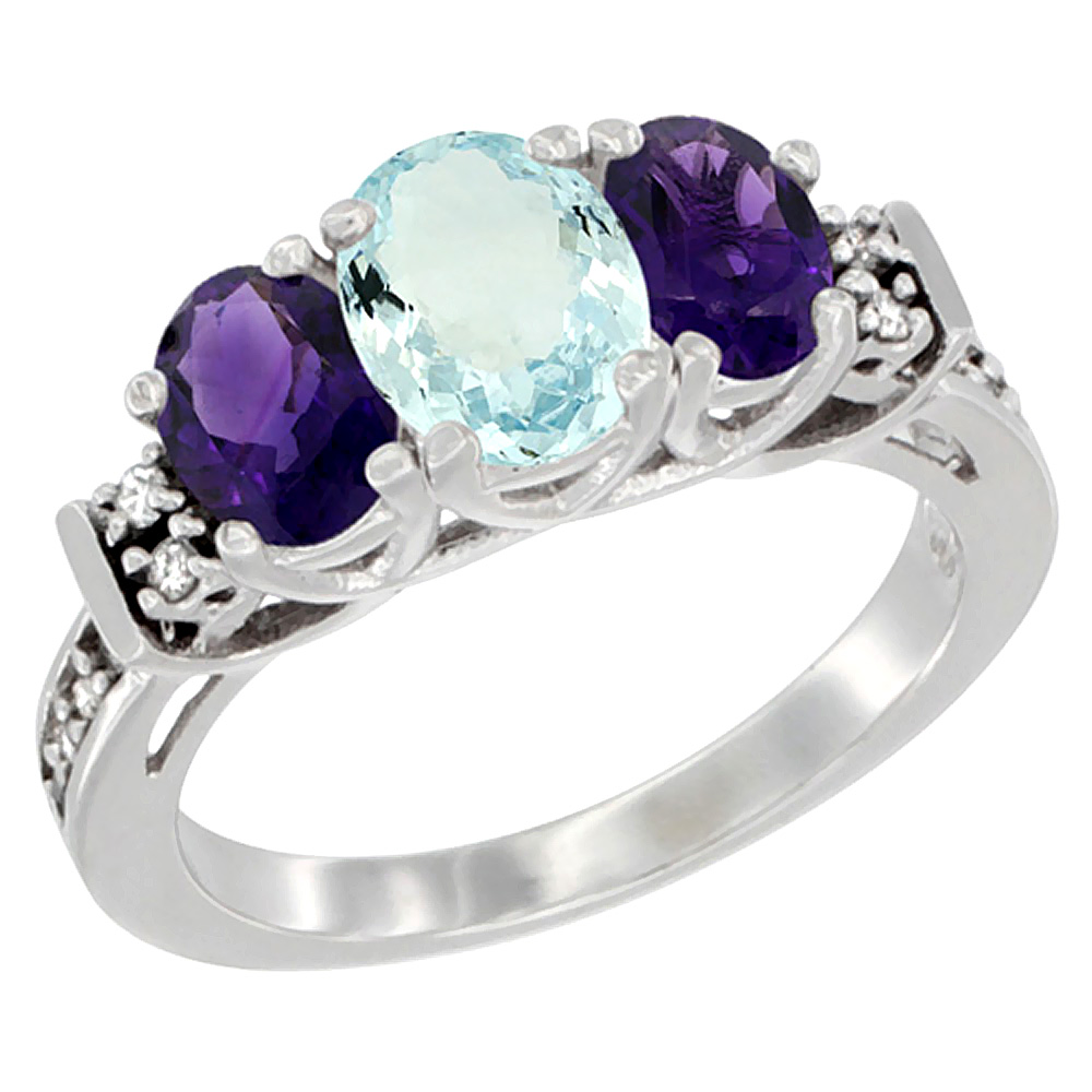 10K White Gold Natural Aquamarine & Amethyst Ring 3-Stone Oval Diamond Accent, sizes 5-10