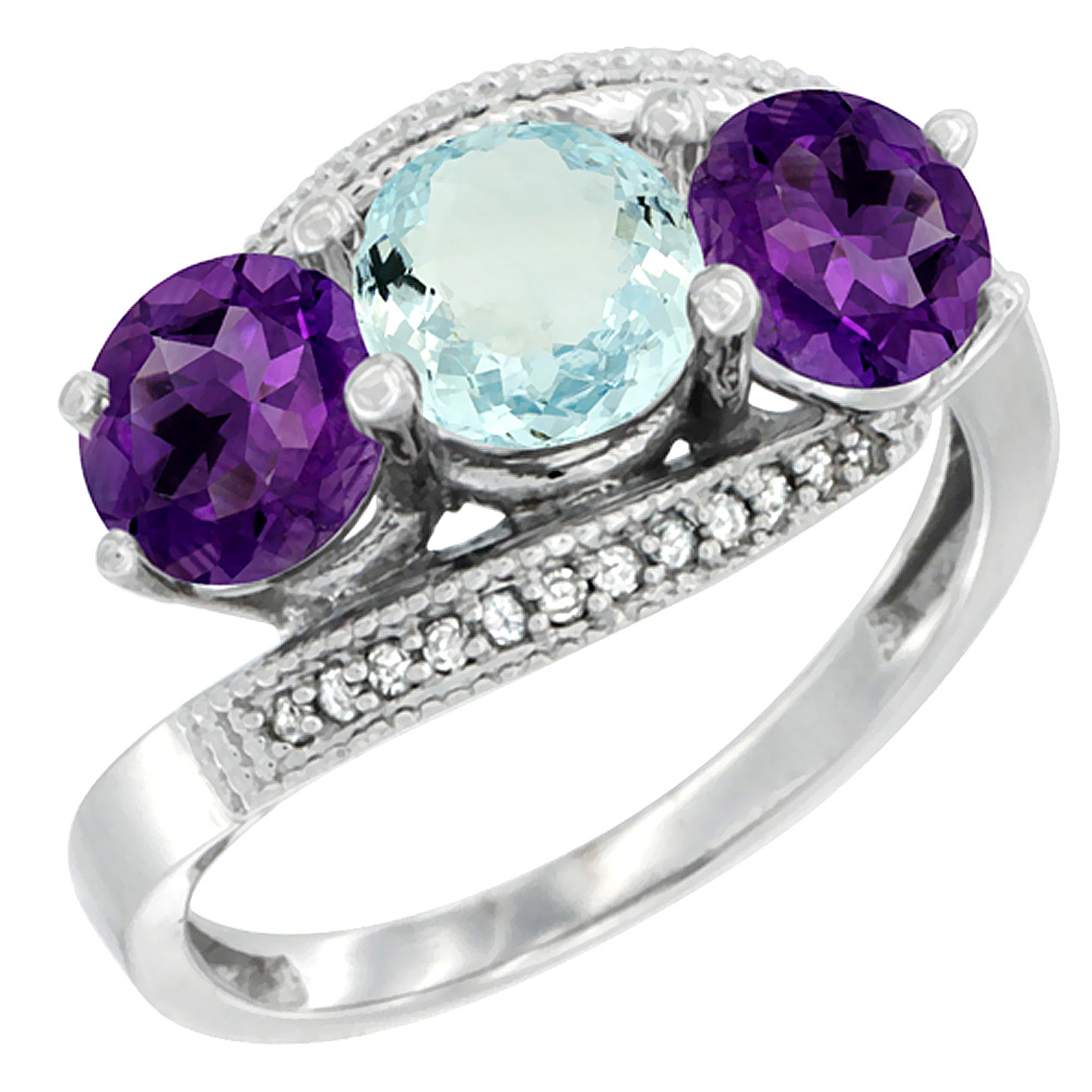 10K White Gold Natural Aquamarine & Amethyst Sides 3 stone Ring Round 6mm Diamond Accent, sizes 5 - 10