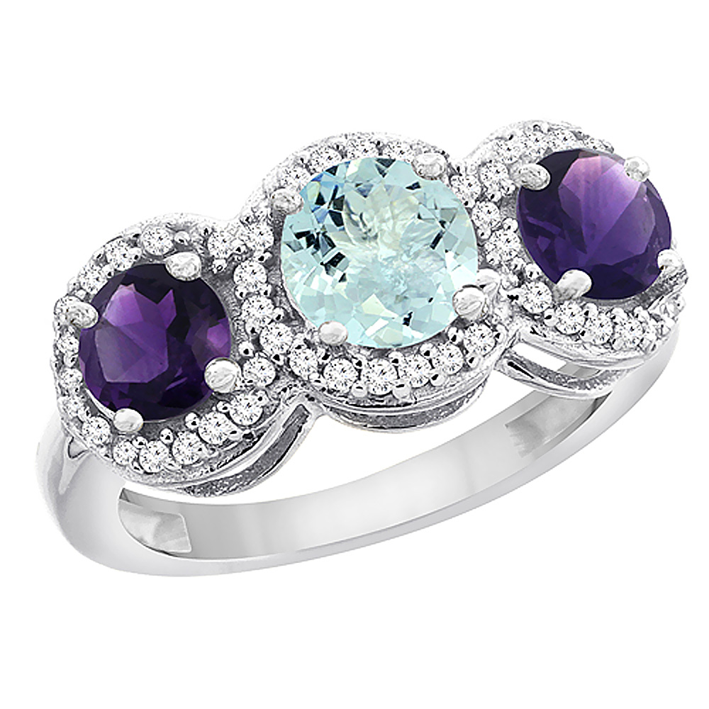 14K White Gold Natural Aquamarine & Amethyst Sides Round 3-stone Ring Diamond Accents, sizes 5 - 10