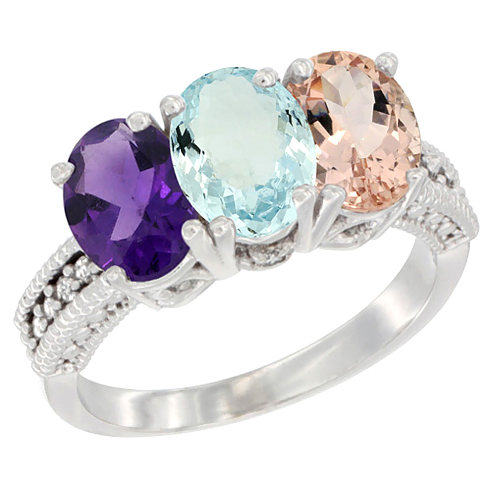 10K White Gold Natural Amethyst, Aquamarine & Morganite Ring 3-Stone Oval 7x5 mm Diamond Accent, sizes 5 - 10