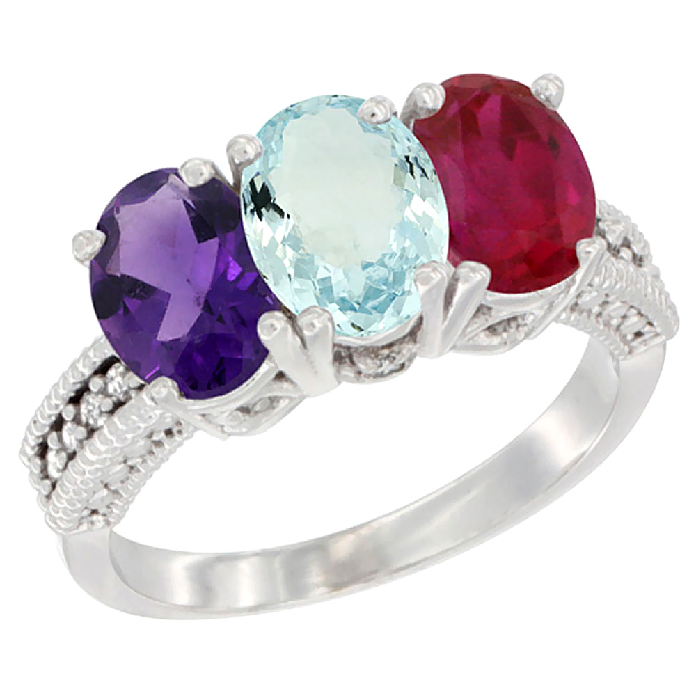 10K White Gold Natural Amethyst, Aquamarine & Enhanced Ruby Ring 3-Stone Oval 7x5 mm Diamond Accent, sizes 5 - 10