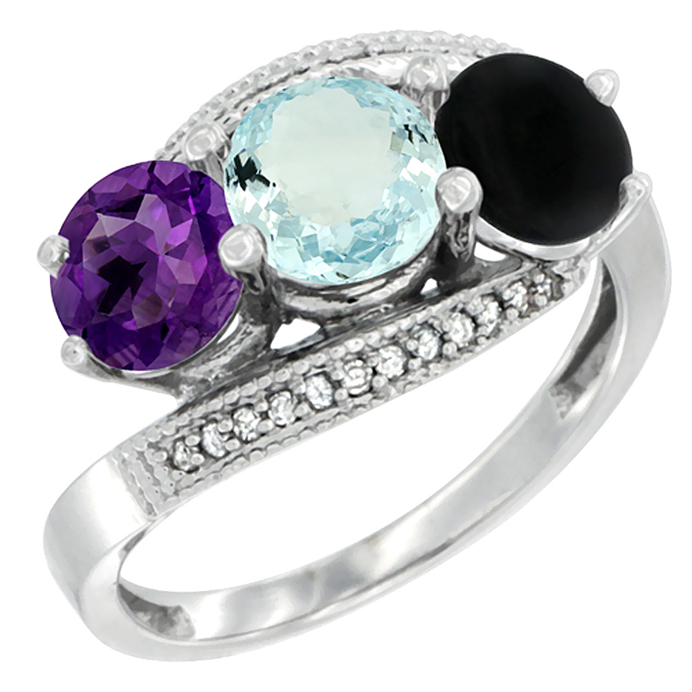 14K White Gold Natural Amethyst, Aquamarine & Black Onyx 3 stone Ring Round 6mm Diamond Accent, sizes 5 - 10