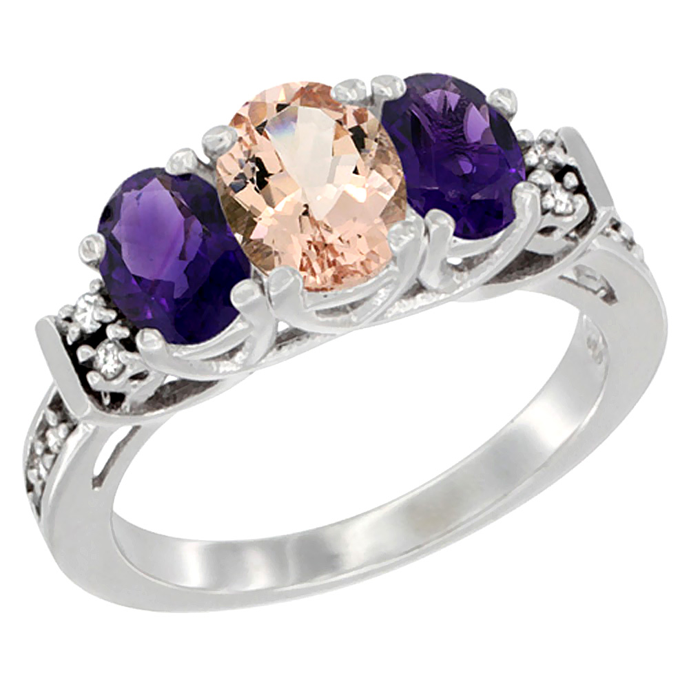 14K White Gold Natural Morganite & Amethyst Ring 3-Stone Oval Diamond Accent, sizes 5-10