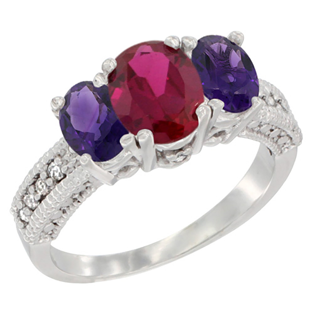 10K White Gold Diamond Enhanced Ruby Ring Oval 3-stone with Amethyst, sizes 5 - 10