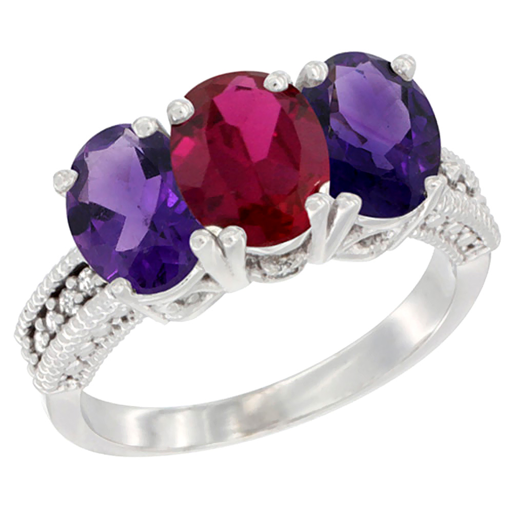 10K White Gold Enhanced Enhanced Ruby & Natural Amethyst Sides Ring 3-Stone Oval 7x5 mm Diamond Accent, sizes 5 - 10