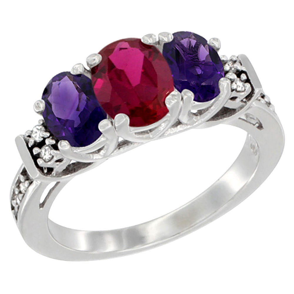 10K White Gold Enhanced Ruby & Natural Amethyst Ring 3-Stone Oval Diamond Accent, sizes 5-10