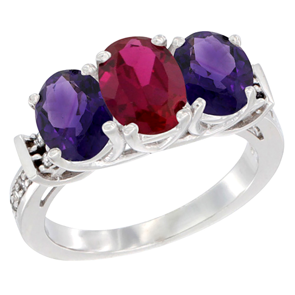10K White Gold Enhanced Ruby & Amethyst Sides Ring 3-Stone Oval Diamond Accent, sizes 5 - 10