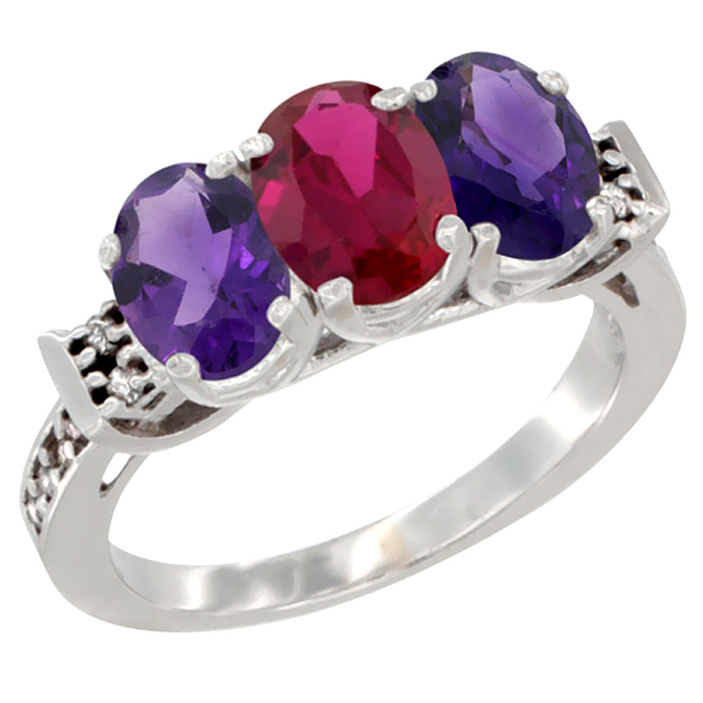 10K White Gold Natural Enhanced Ruby & Natural Amethyst Sides Ring 3-Stone Oval 7x5 mm Diamond Accent, sizes 5 - 10