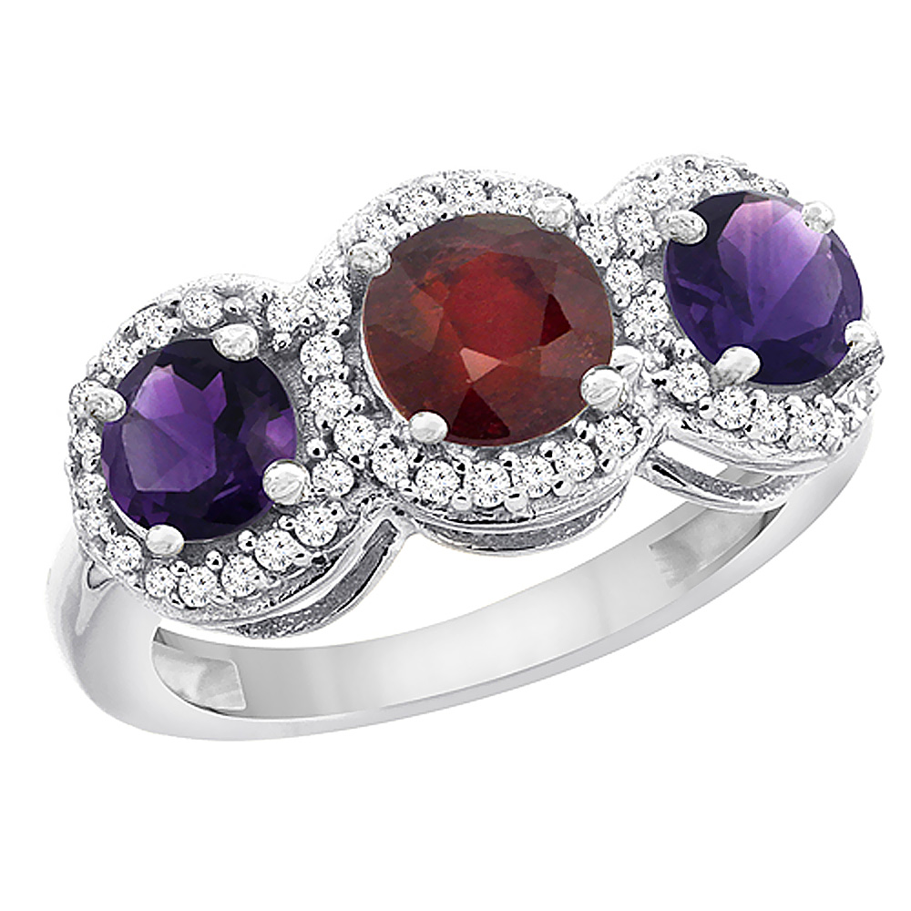 14K White Gold Enhanced Ruby & Amethyst Sides Round 3-stone Ring Diamond Accents, sizes 5 - 10