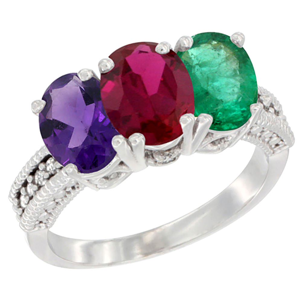 10K White Gold Natural Amethyst, Enhanced Ruby & Natural Emerald Ring 3-Stone Oval 7x5 mm Diamond Accent, sizes 5 - 10