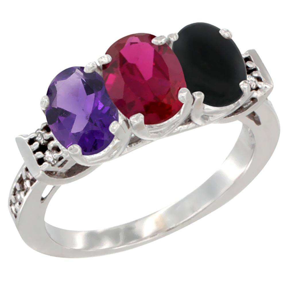 10K White Gold Natural Amethyst, Enhanced Ruby & Natural Black Onyx Ring 3-Stone Oval 7x5 mm Diamond Accent, sizes 5 - 10
