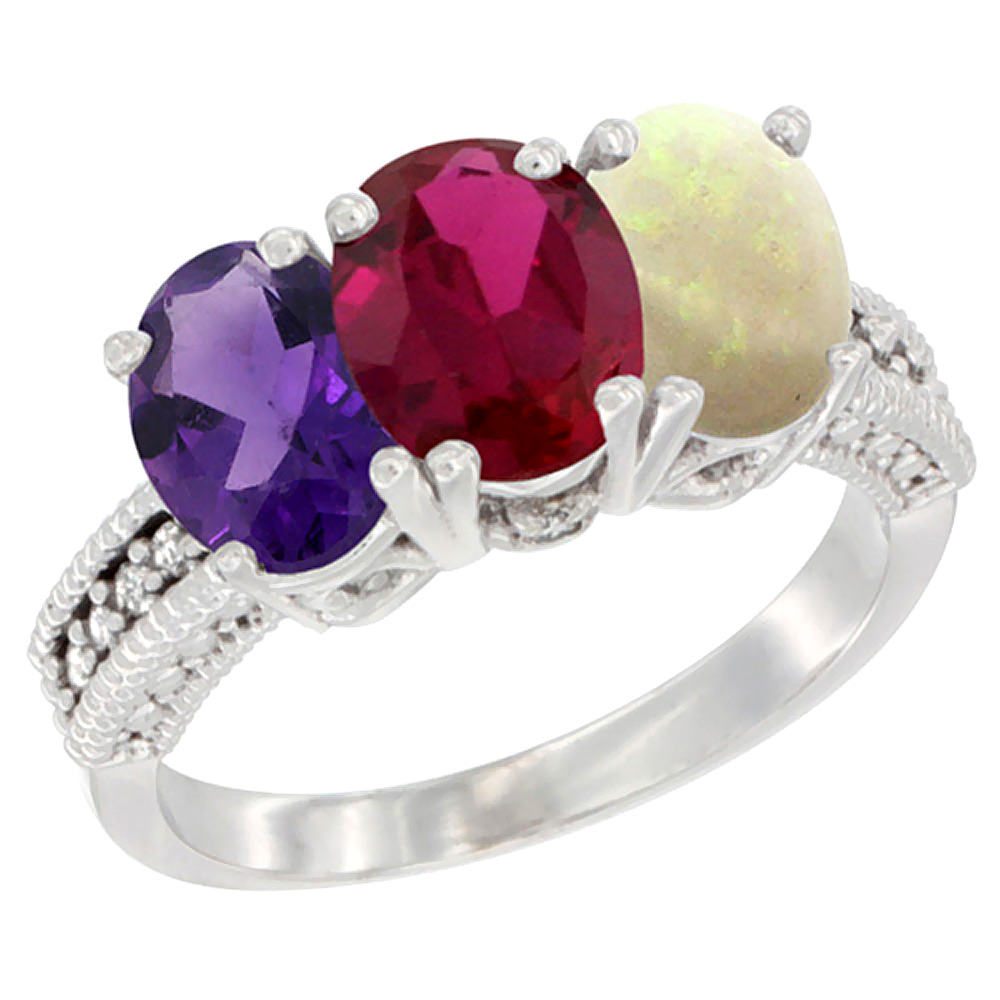 10K White Gold Natural Amethyst, Enhanced Ruby & Natural Opal Ring 3-Stone Oval 7x5 mm Diamond Accent, sizes 5 - 10