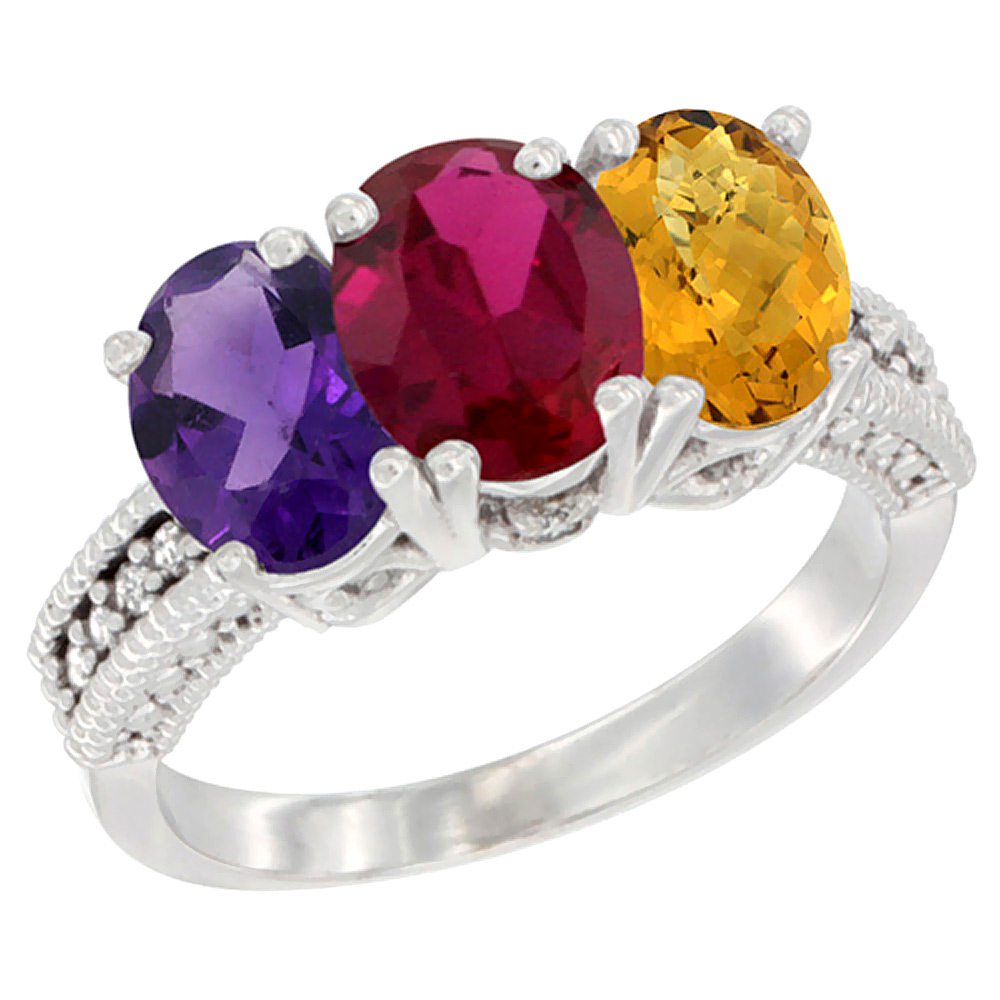 10K White Gold Natural Amethyst, Enhanced Ruby & Natural Whisky Quartz Ring 3-Stone Oval 7x5 mm Diamond Accent, sizes 5 - 10