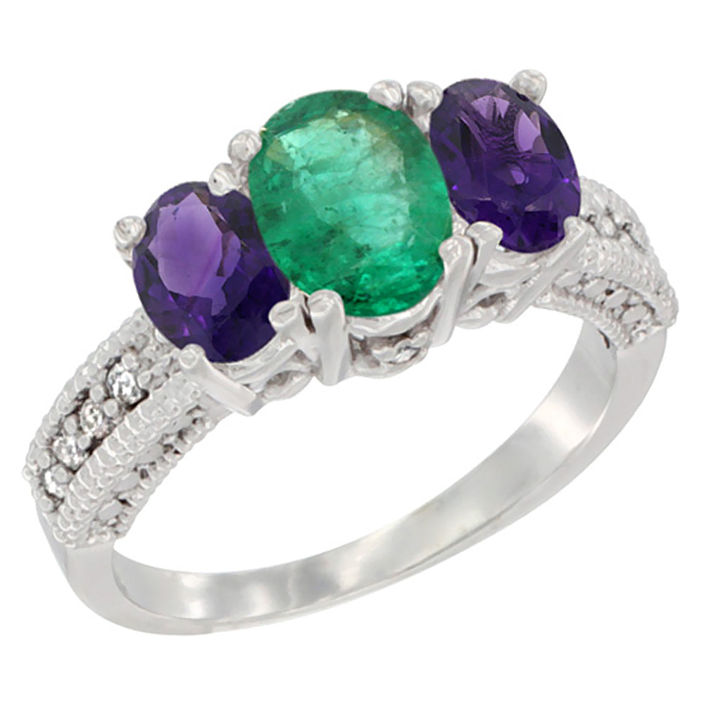 14K White Gold Diamond Natural Emerald Ring Oval 3-stone with Amethyst, sizes 5 - 10