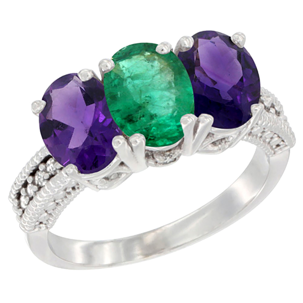 14K White Gold Natural Emerald & Amethyst Ring 3-Stone 7x5 mm Oval Diamond Accent, sizes 5 - 10