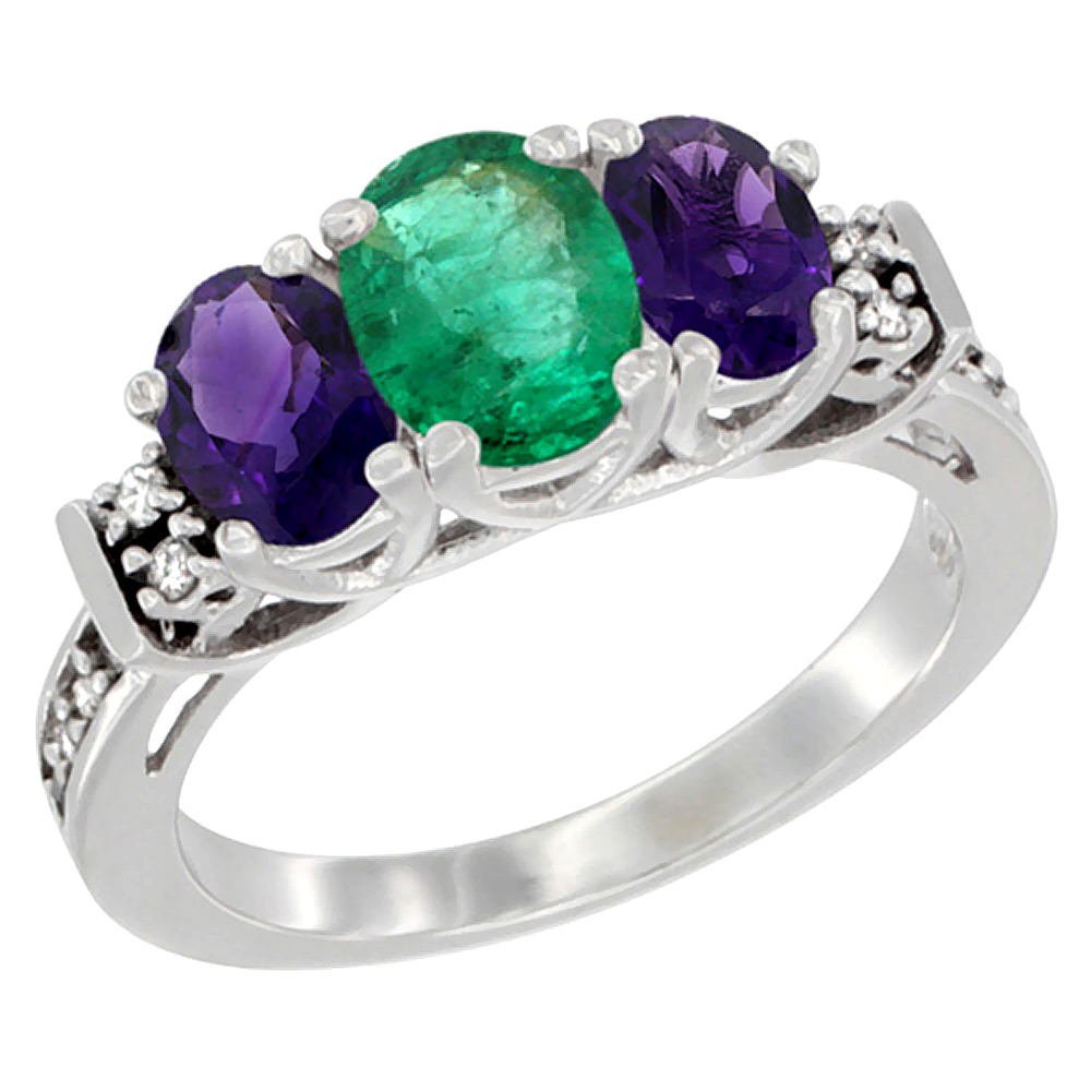 14K White Gold Natural Emerald & Amethyst Ring 3-Stone Oval Diamond Accent, sizes 5-10