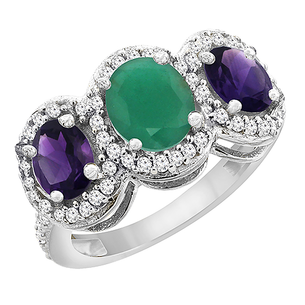 14K White Gold Natural Cabochon Emerald & Amethyst 3-Stone Ring Oval Diamond Accent, sizes 5 - 10