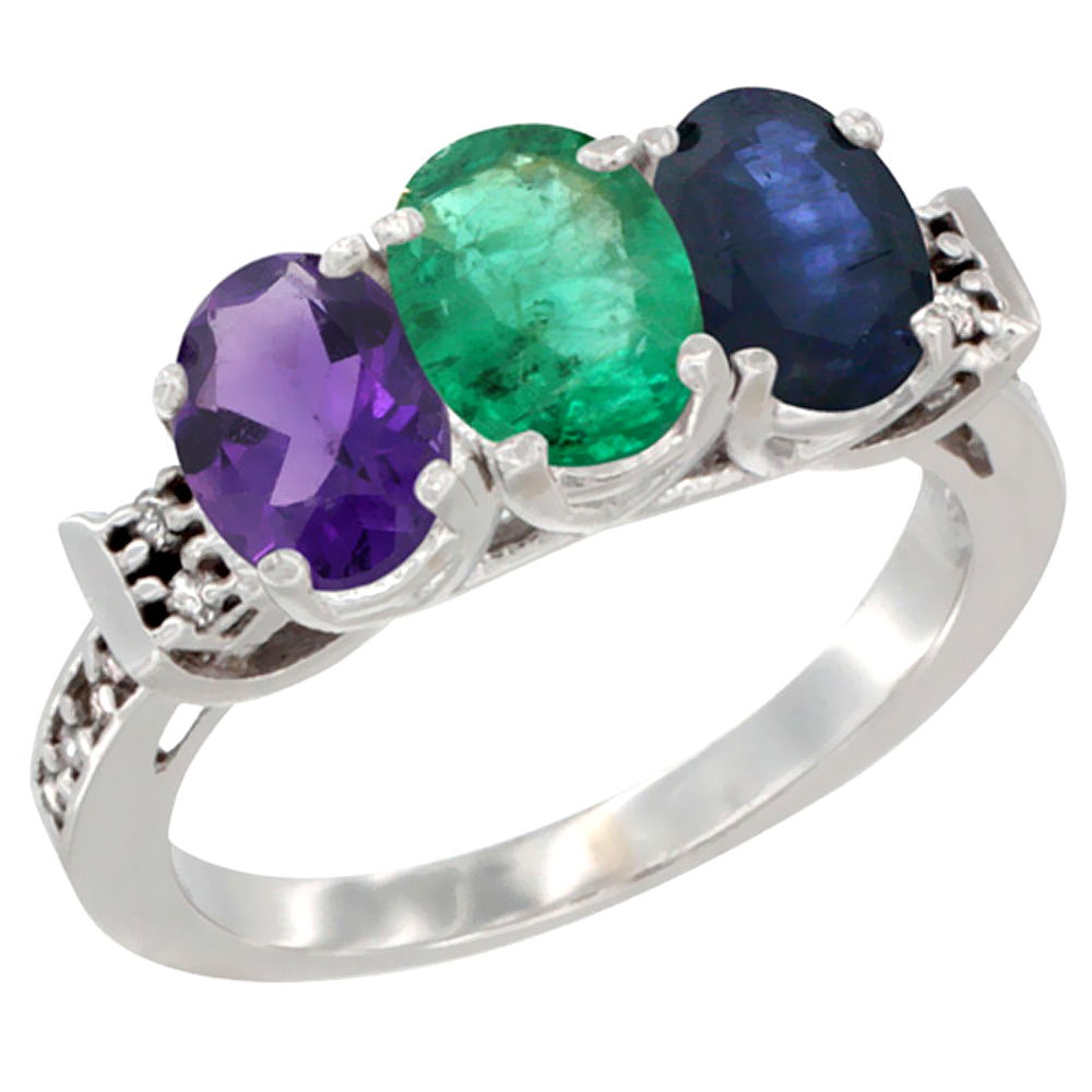 14K White Gold Natural Amethyst, Emerald & Blue Sapphire Ring 3-Stone 7x5 mm Oval Diamond Accent, sizes 5 - 10