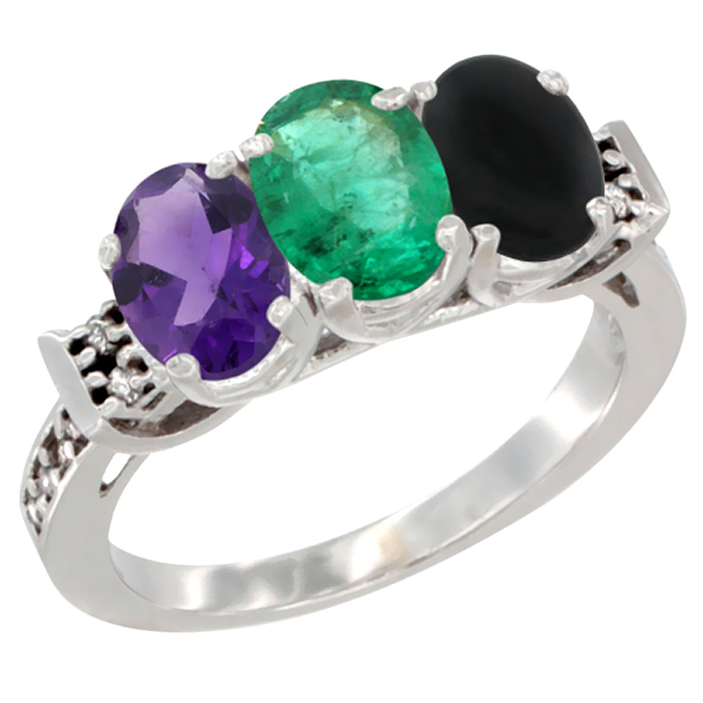 14K White Gold Natural Amethyst, Emerald & Black Onyx Ring 3-Stone 7x5 mm Oval Diamond Accent, sizes 5 - 10