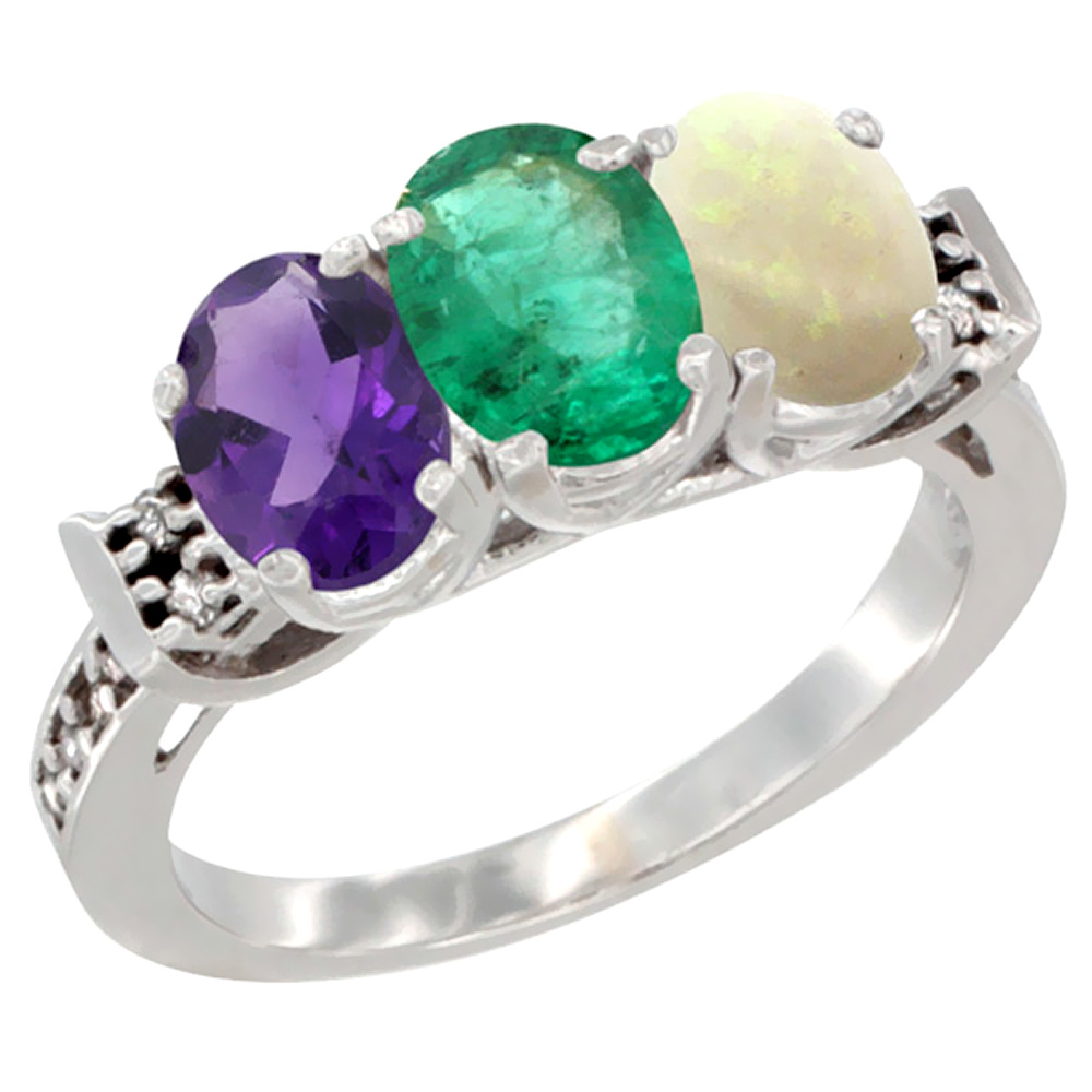 14K White Gold Natural Amethyst, Emerald & Opal Ring 3-Stone 7x5 mm Oval Diamond Accent, sizes 5 - 10