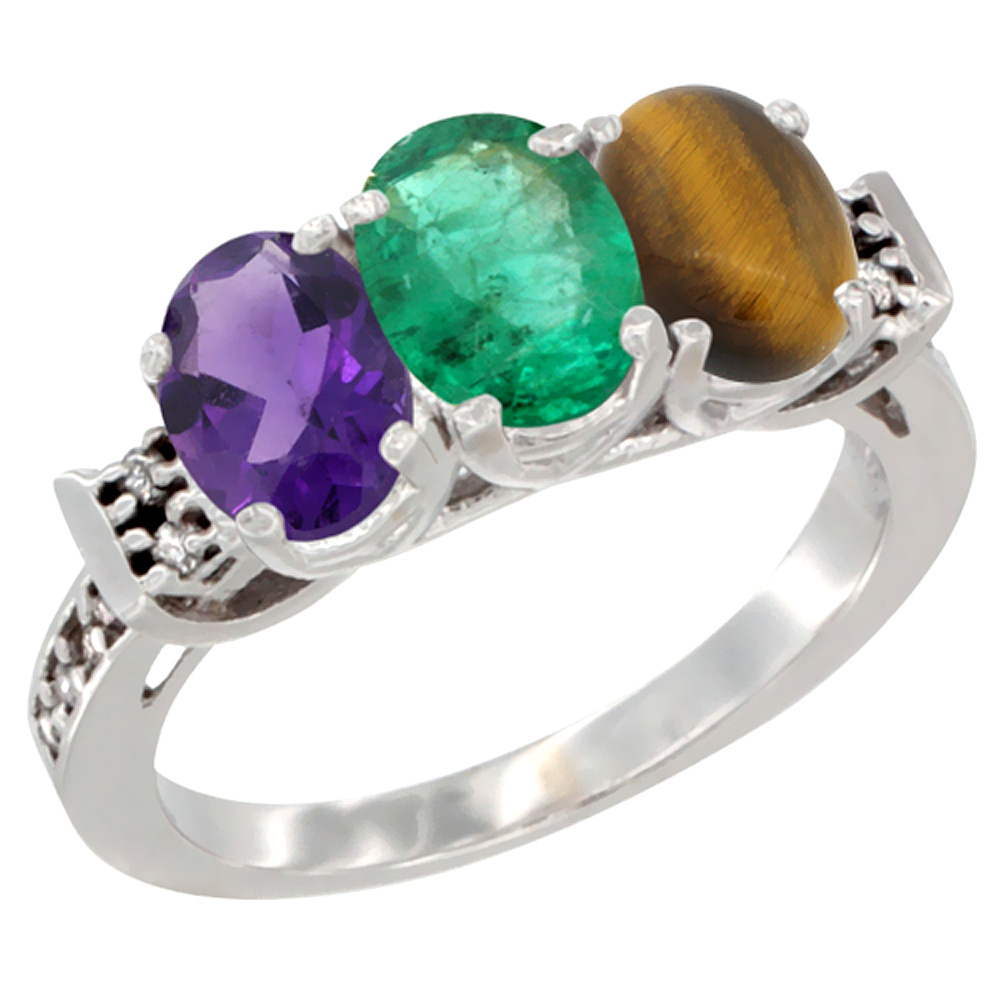14K White Gold Natural Amethyst, Emerald & Tiger Eye Ring 3-Stone 7x5 mm Oval Diamond Accent, sizes 5 - 10